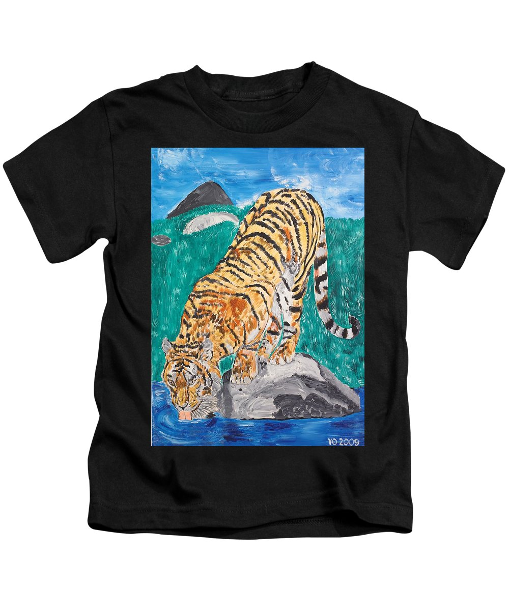 Cat Kids T-Shirt featuring the painting Old Tiger Drinking by Valerie Ornstein