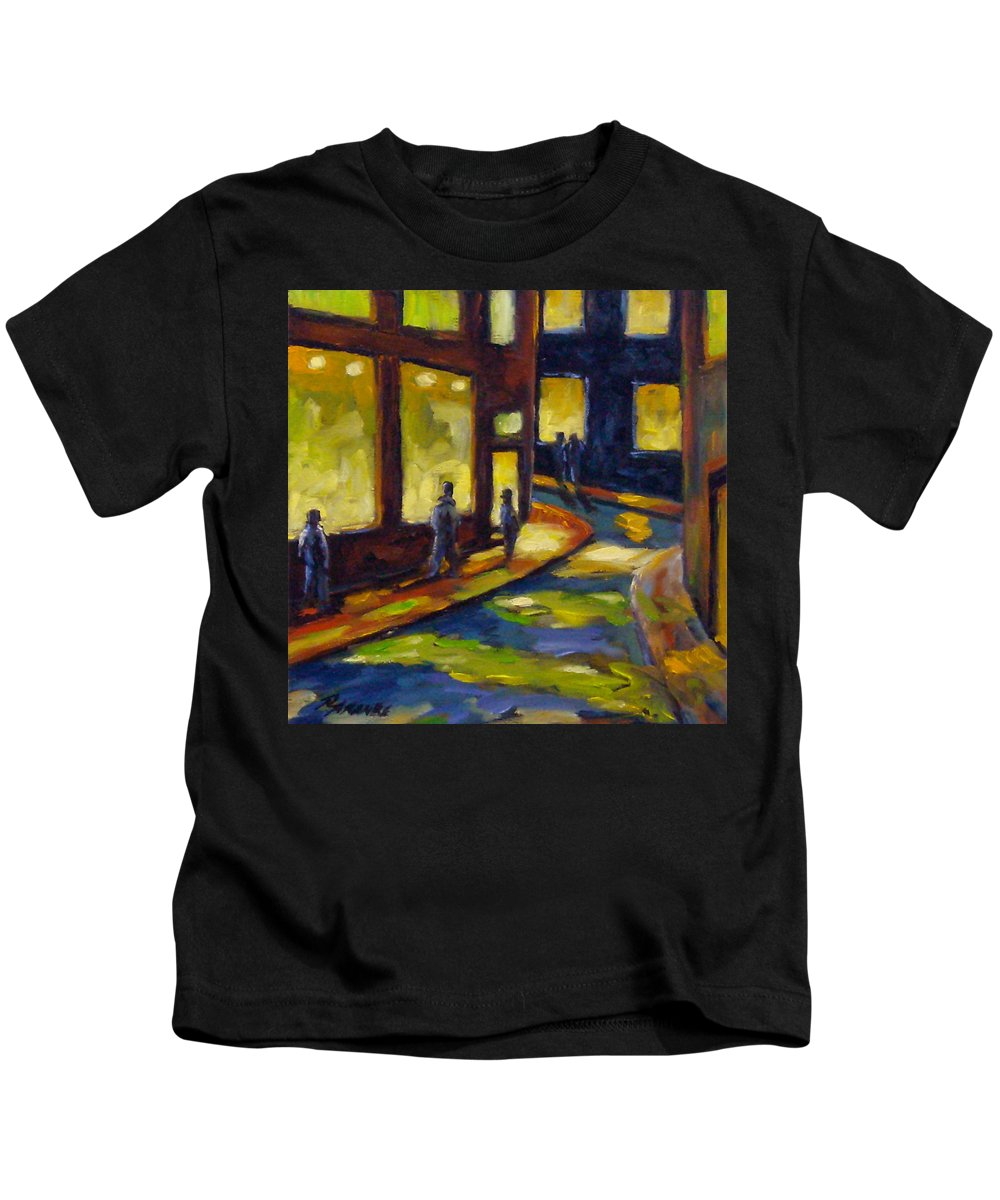 Urban; Scene; People; Night; Street; City; Scape; Love; Kids T-Shirt featuring the painting Old Town At Night by Richard T Pranke