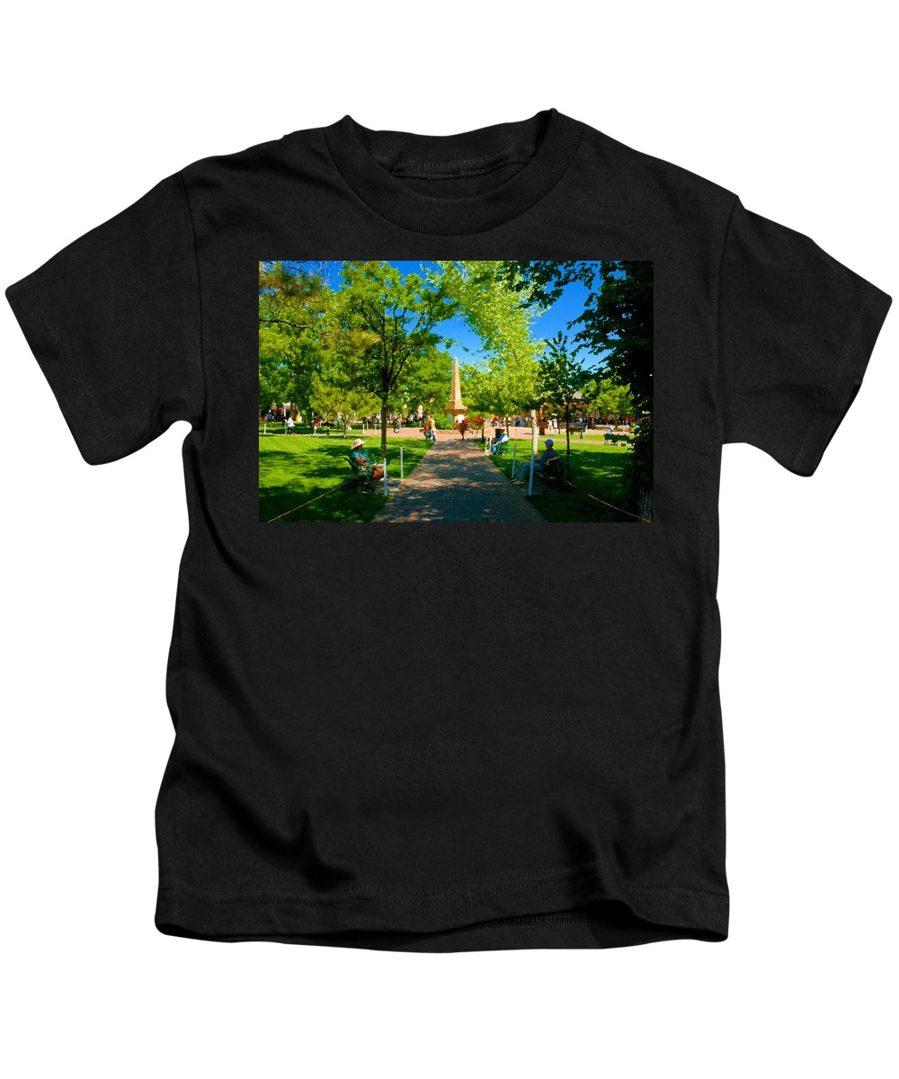 Santa Fe New Mexico Kids T-Shirt featuring the painting Old Town Square Santa Fe by David Lee Thompson