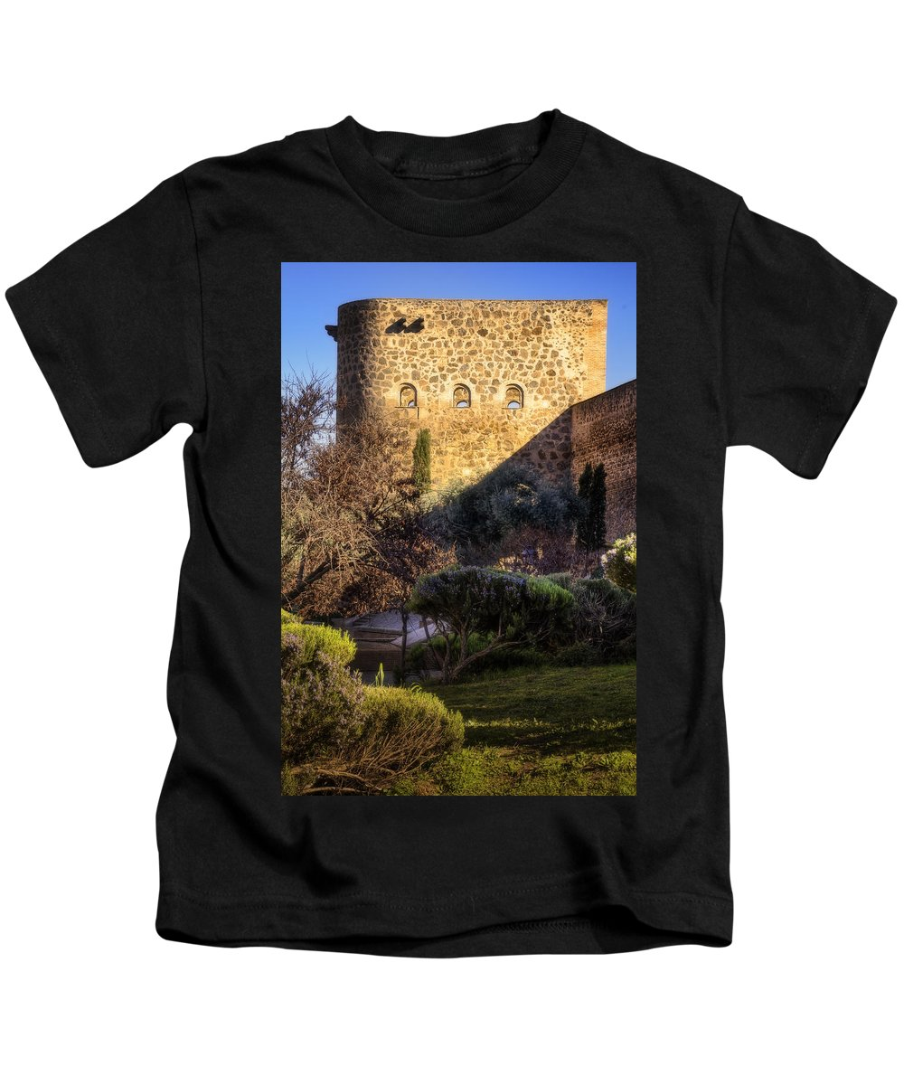 Ancient Kids T-Shirt featuring the photograph Old Town Walls Toledo Spain by Joan Carroll