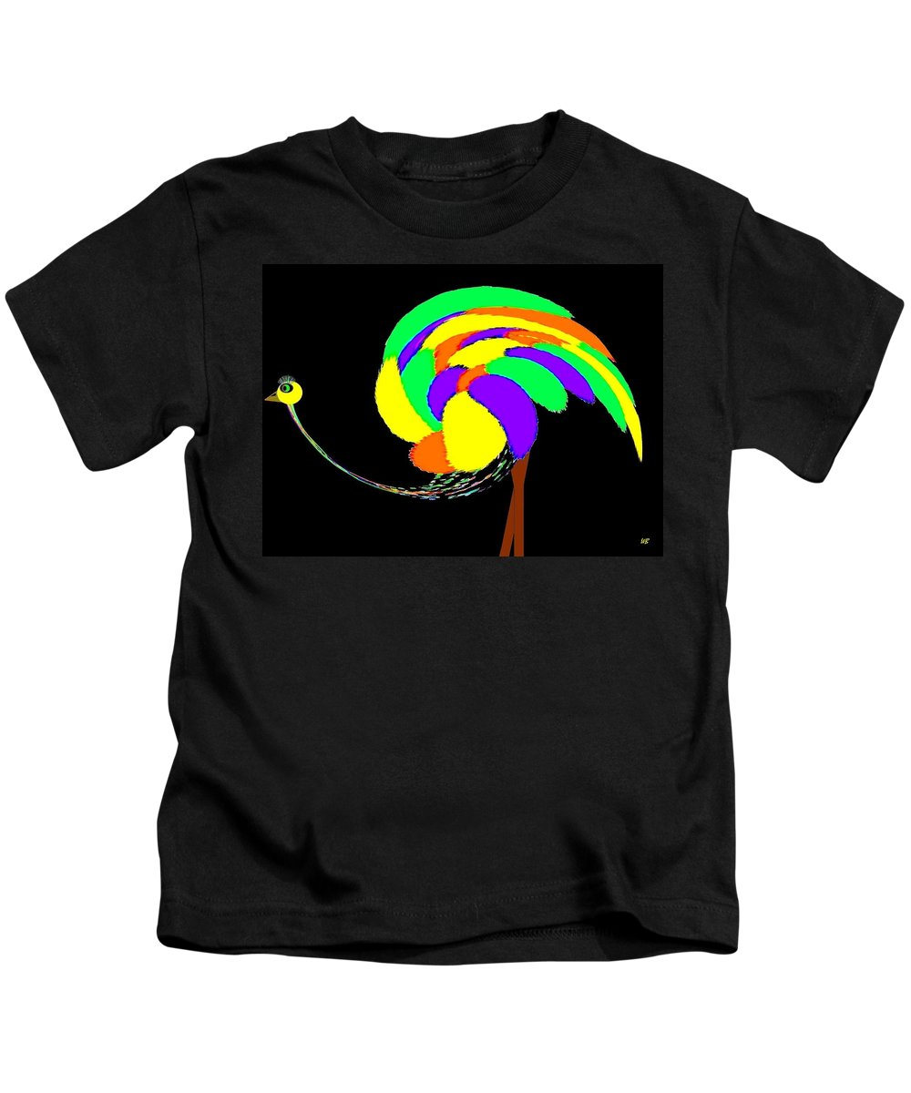Abstract Kids T-Shirt featuring the digital art Olive The Ostrich by Will Borden