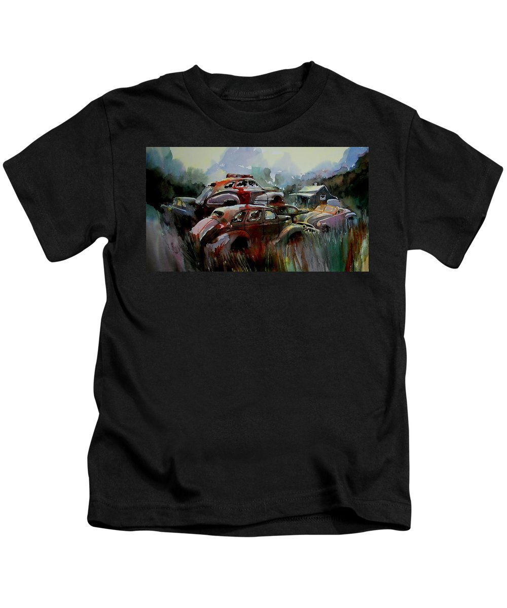 Chevies Kids T-Shirt featuring the painting Oliver Stacks by Ron Morrison