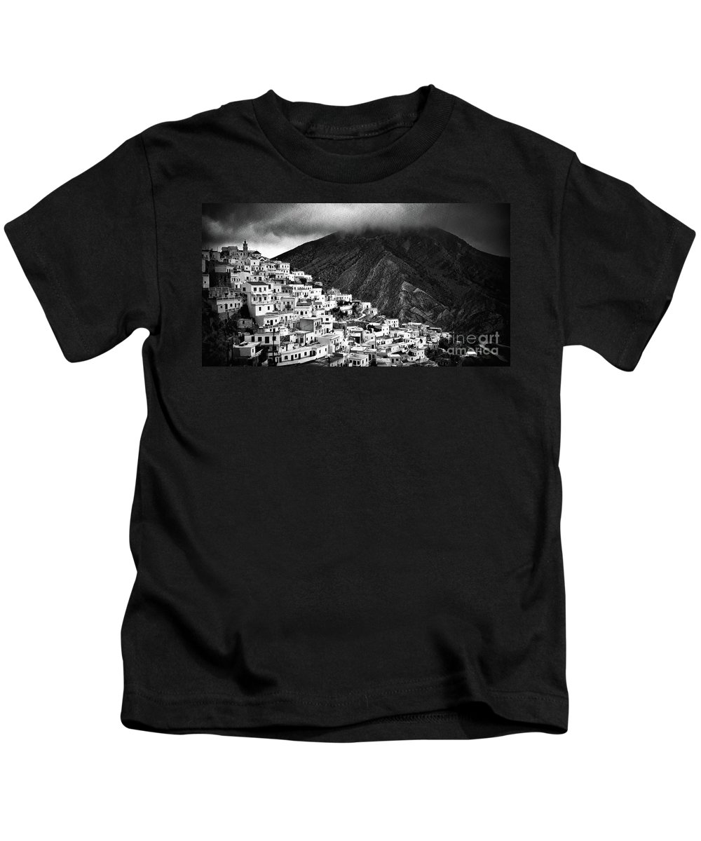 Black And White Kids T-Shirt featuring the photograph Olympos. Karpathos Island Greece by Silvia Ganora
