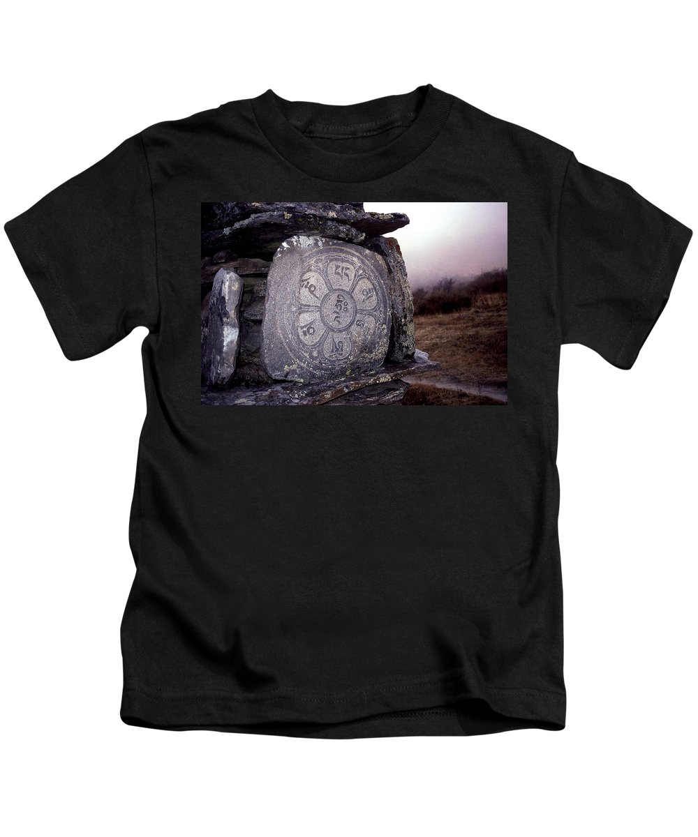 Langtang Kids T-Shirt featuring the photograph Om Mani Padme Hum by Patrick Klauss