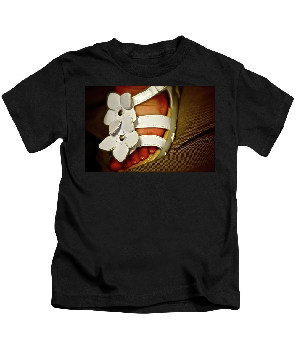 Baby Kids T-Shirt featuring the photograph On Daddy's Lap by Diana Hatcher