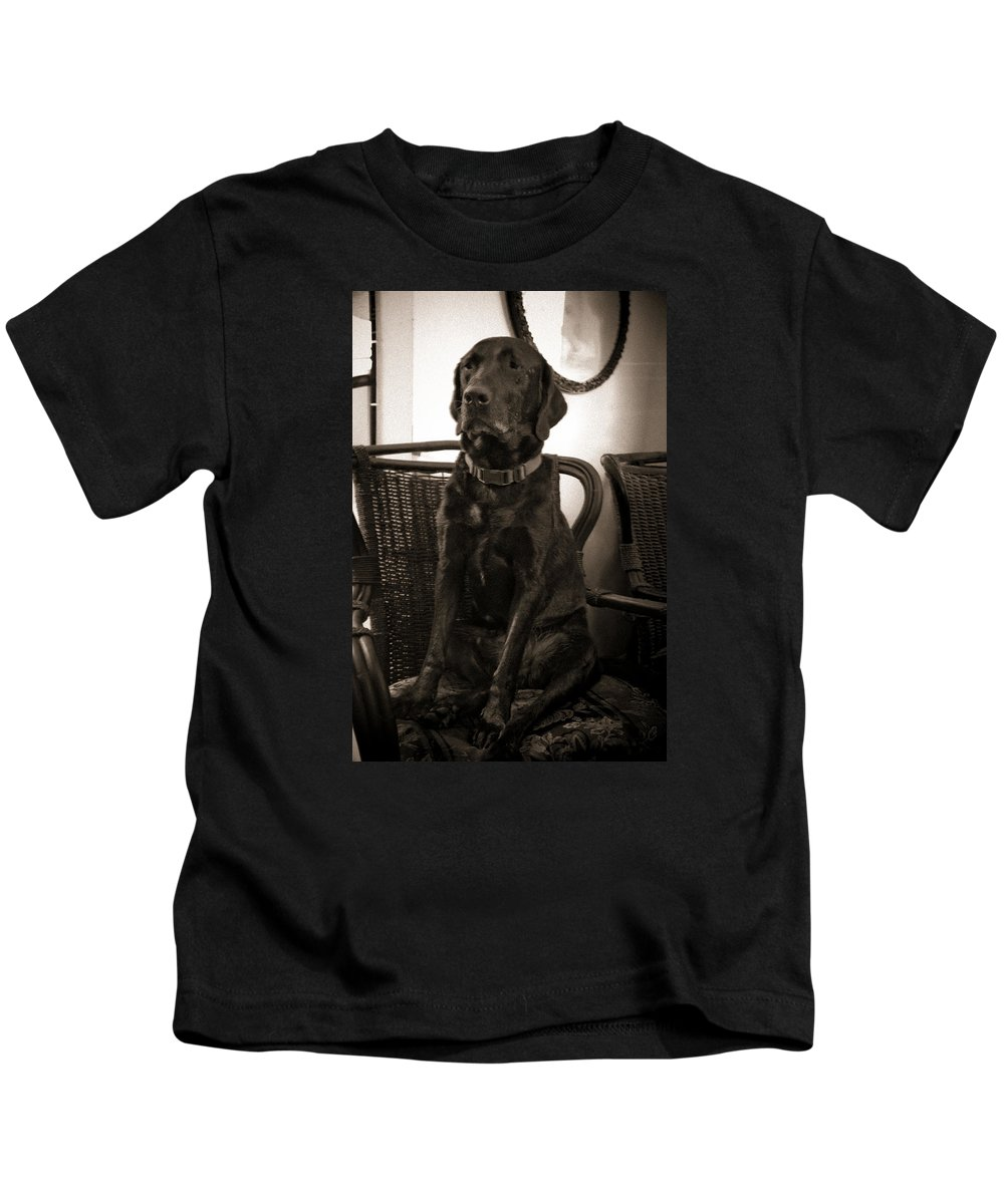 Black Lab Kids T-Shirt featuring the photograph On His Throne by Roger Wedegis