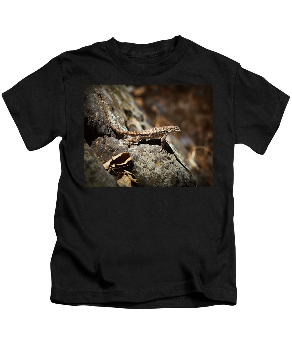 Western Fence Lizard Kids T-Shirt featuring the photograph On The Look Out by Kelley King