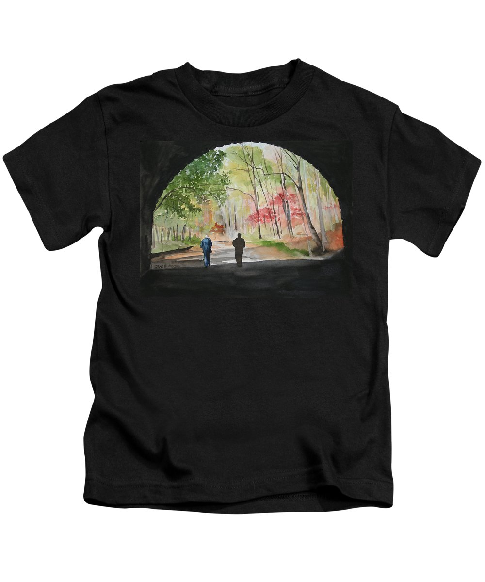 Road Kids T-Shirt featuring the painting On The Road To Nowhere by Jean Blackmer