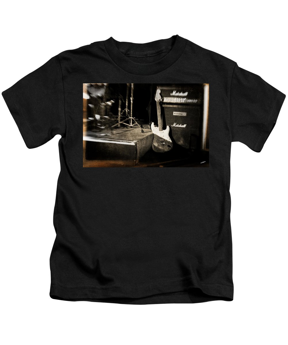 Guitar Kids T-Shirt featuring the photograph One More Show by Scott Pellegrin