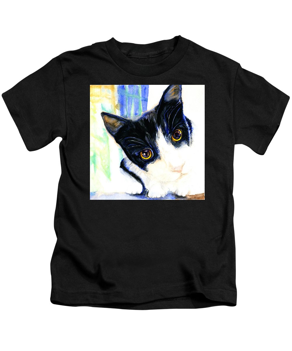 Cat Kids T-Shirt featuring the painting One Paw In Heaven by Angela Courtney