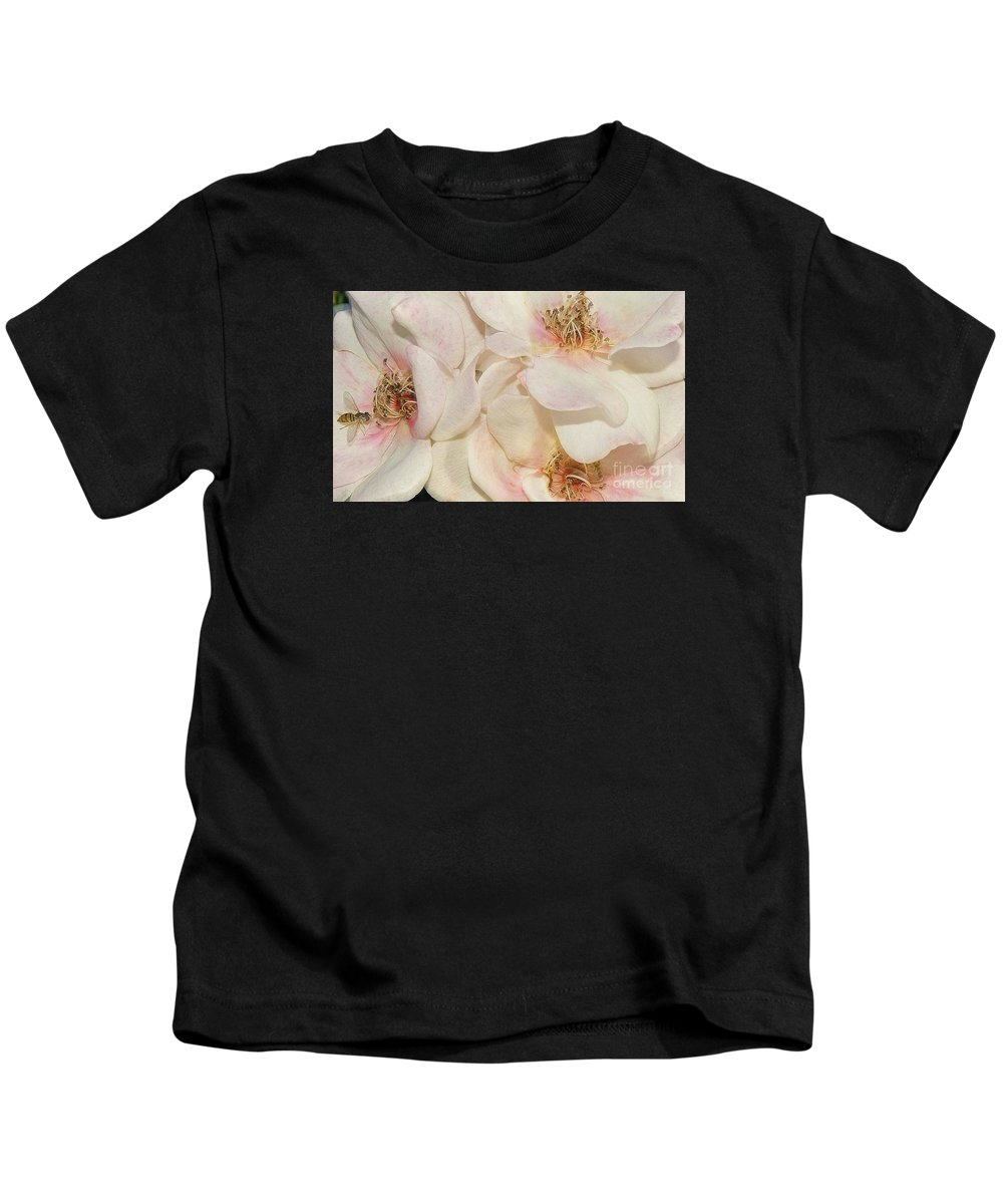 Flowers Kids T-Shirt featuring the photograph One Small Visitor by Reb Frost