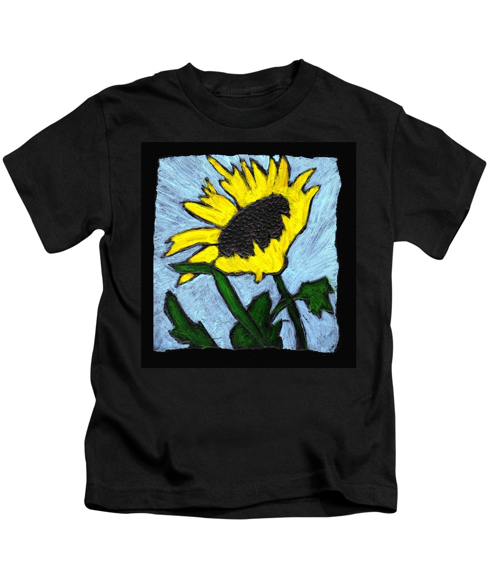 Flower Kids T-Shirt featuring the painting One Sunflower by Wayne Potrafka