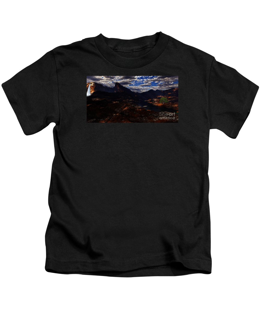 Terragen Kids T-Shirt featuring the digital art One Tree Valley by Napo Bonaparte