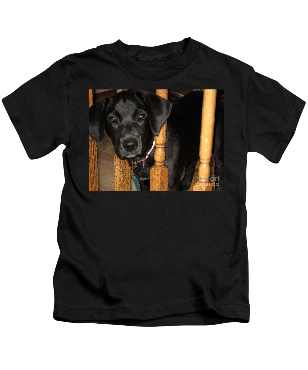 Dog Kids T-Shirt featuring the photograph One Way Only by Rhonda Chase