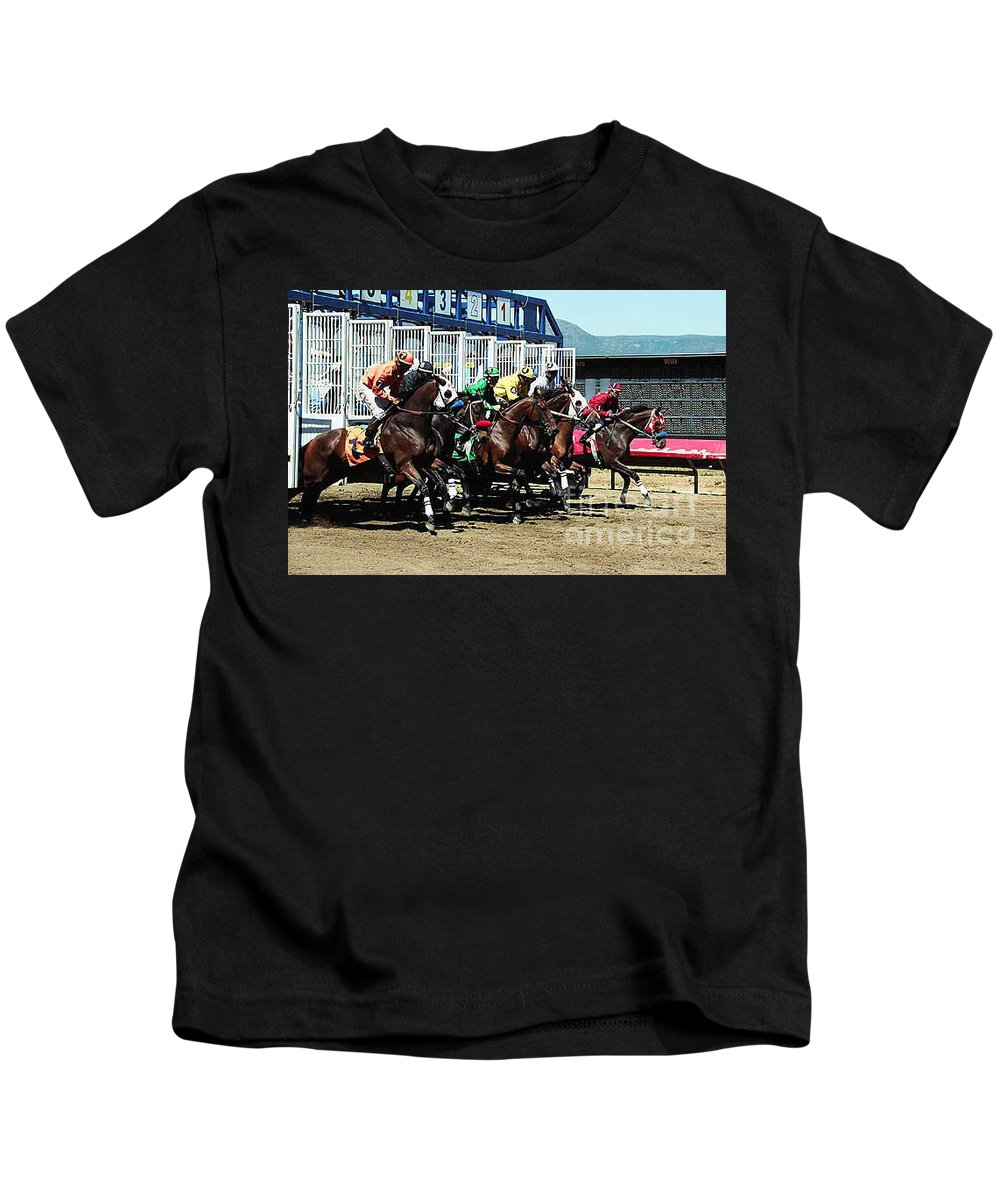 Horse Kids T-Shirt featuring the photograph Only A Mile To Go by Kathy McClure