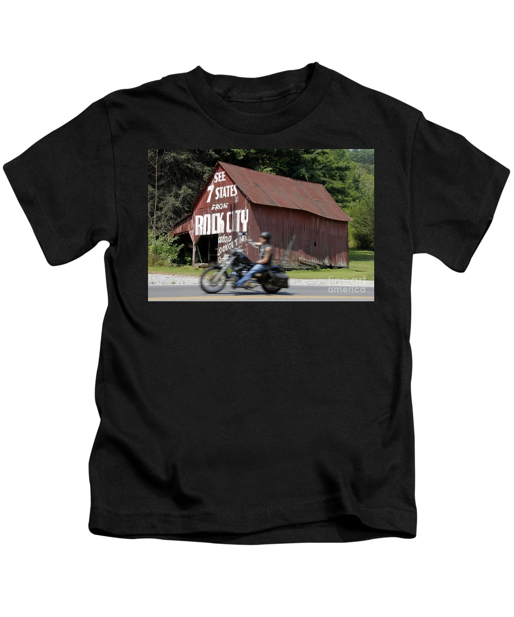 Motorcycle Kids T-Shirt featuring the photograph Open Road by David Lee Thompson