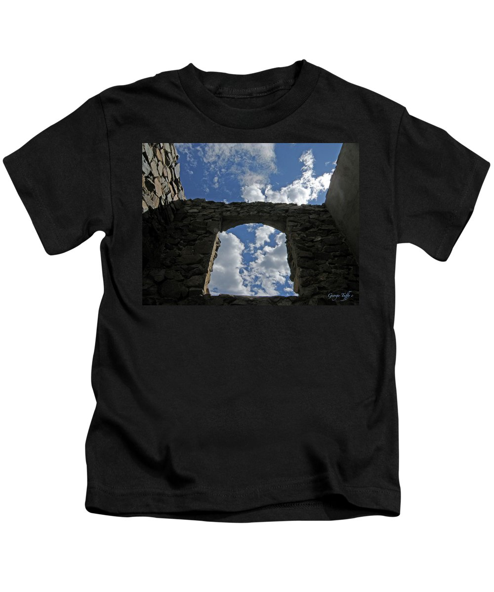 Old House Mining Colorado Sky Clouds Rocky Mountains Spacious Simple Zen Kids T-Shirt featuring the photograph Open To The Sky by George Tuffy