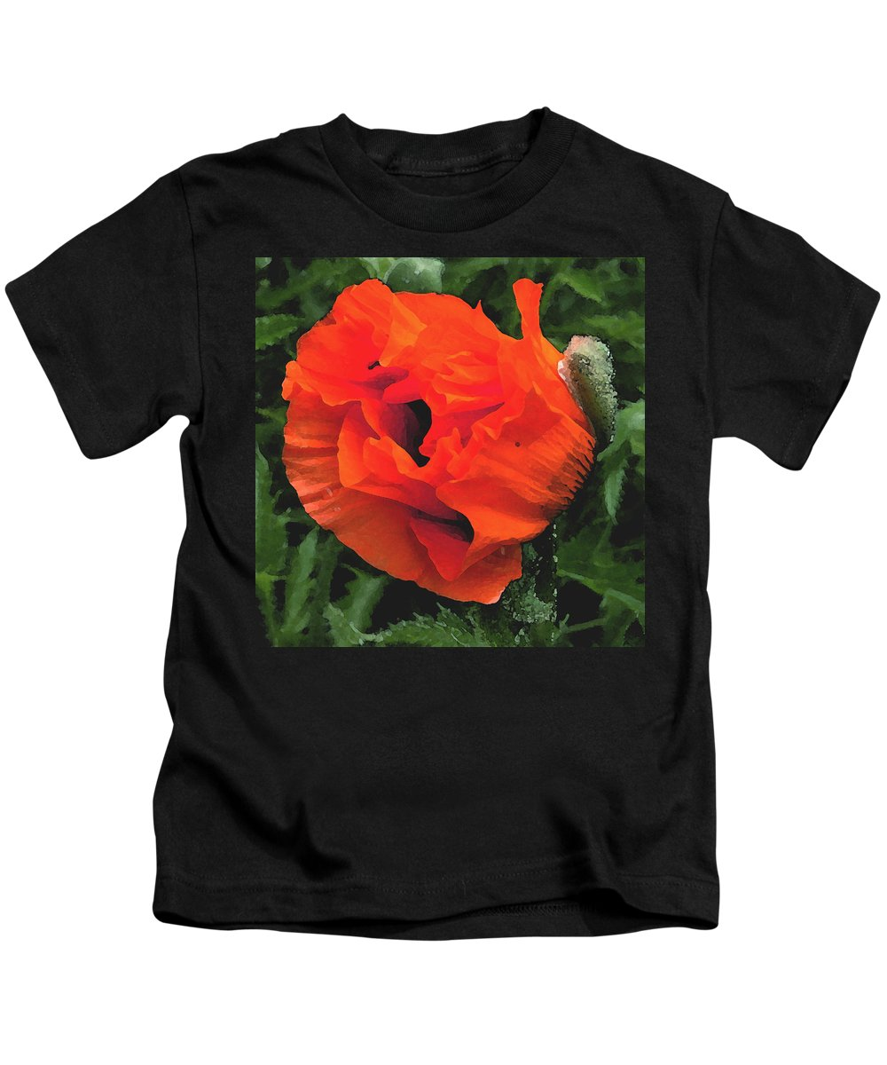 Opium Poppy Kids T-Shirt featuring the photograph Opium by Heather Lennox