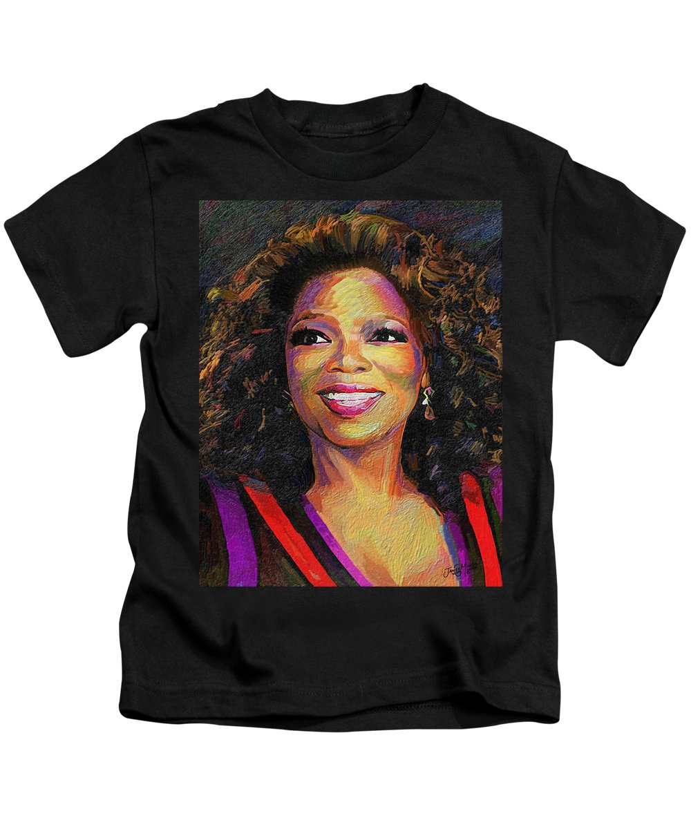 Oprah Kids T-Shirt featuring the painting Oprah by James Mingo