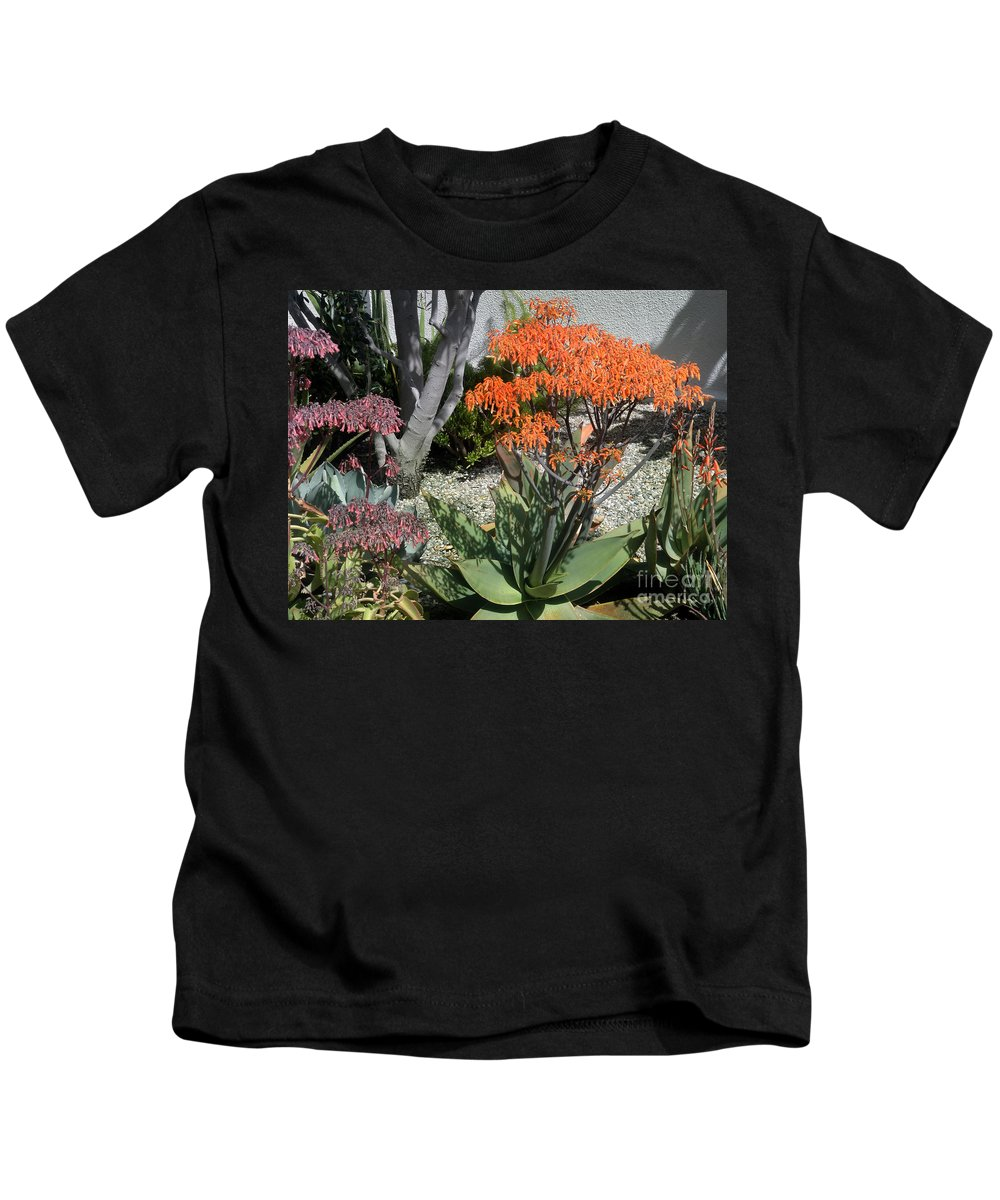 Wild Flowers Kids T-Shirt featuring the photograph Orange And Pink Exotic Bell Flowers by Sofia Metal Queen