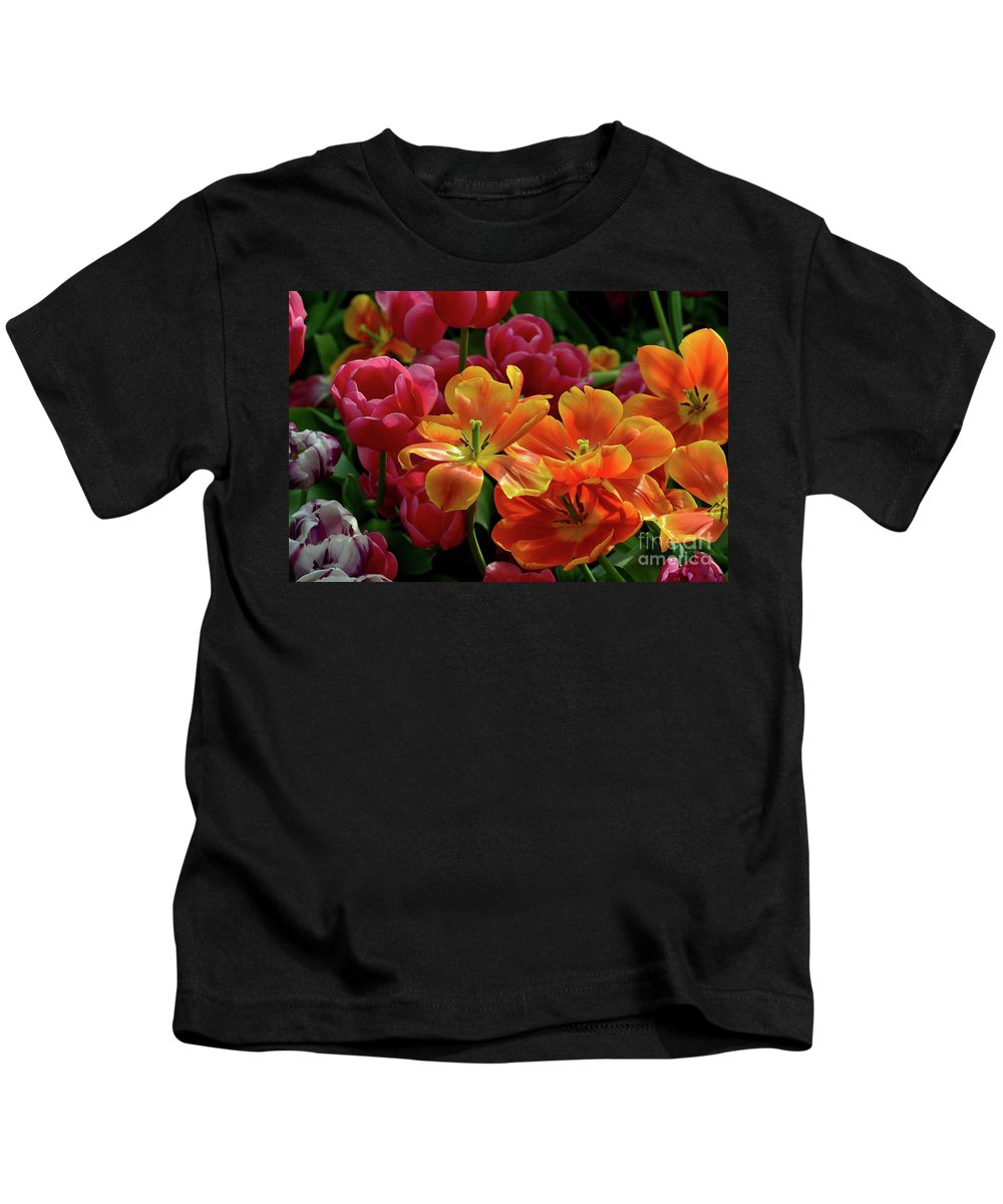 Tulip Kids T-Shirt featuring the photograph Orange And Red Tulip Lilies In Various Stages Of Bloom by Imran Ahmed