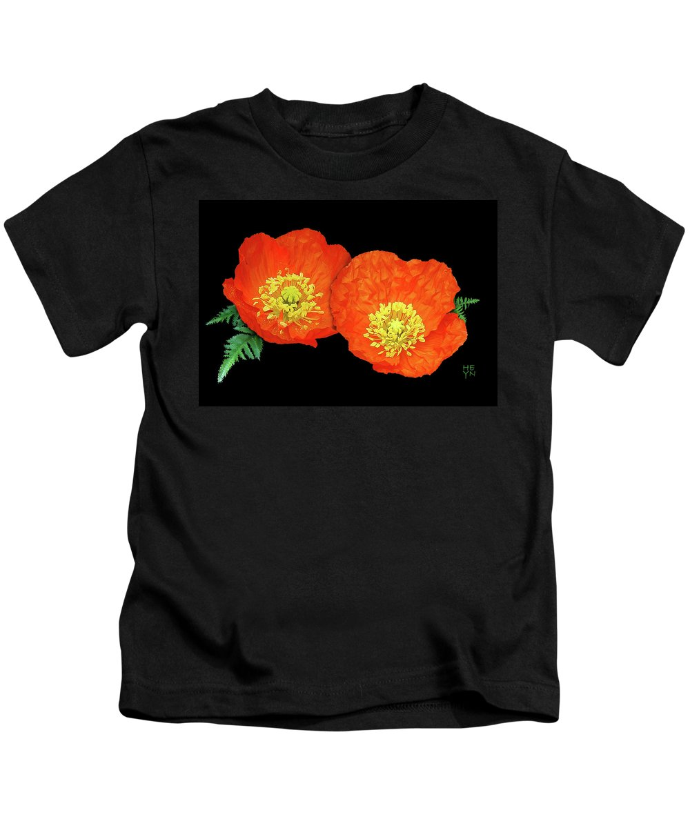 Cutout Kids T-Shirt featuring the photograph Orange Poppy Collage Cutout by Shirley Heyn