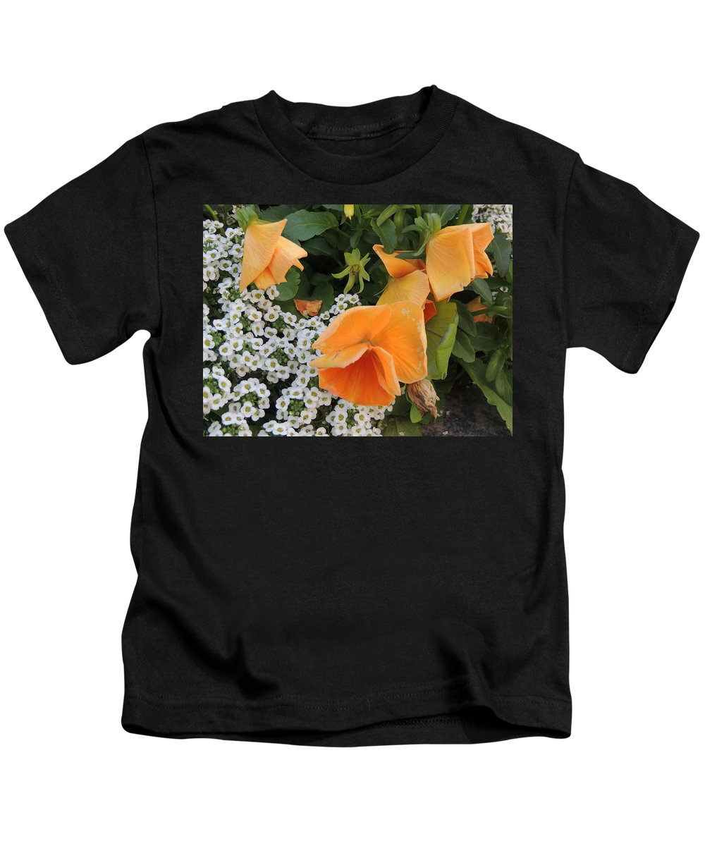 Floral Kids T-Shirt featuring the photograph Orange Teardrop With White Lace by Cindy Freeman