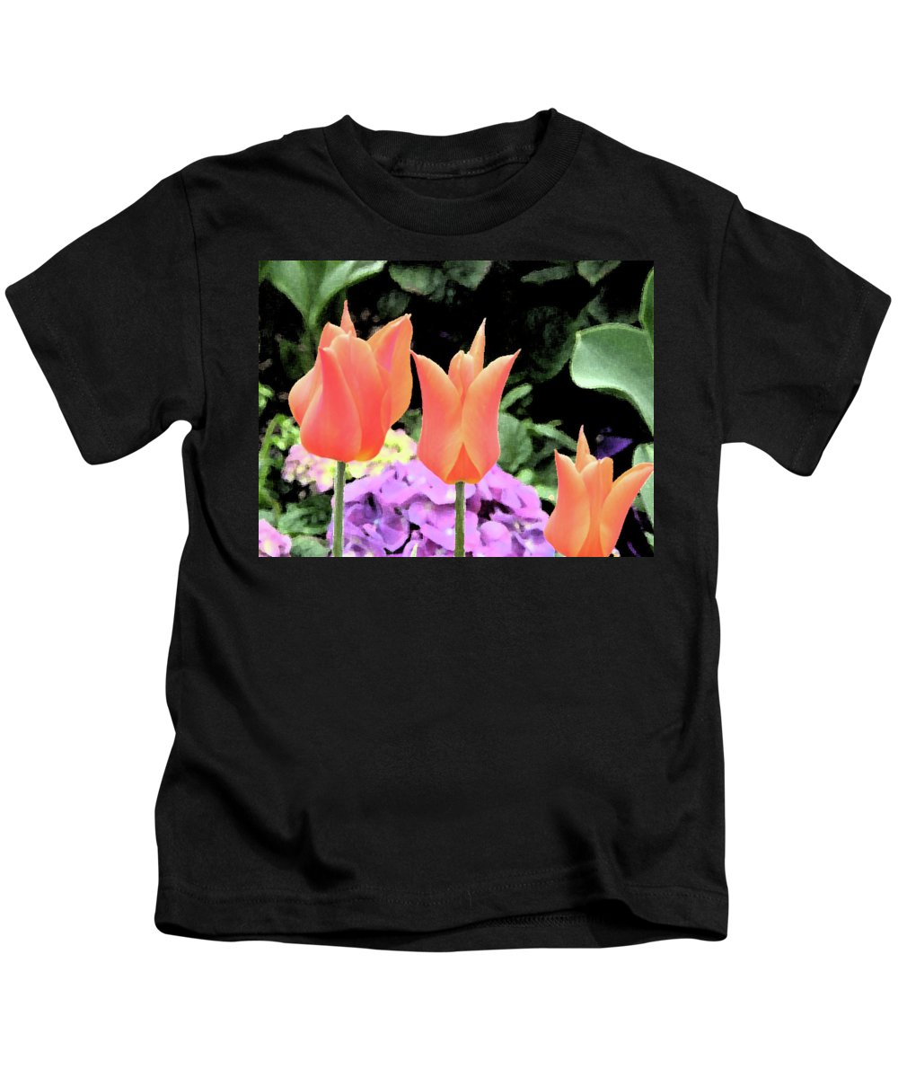 Tulips Kids T-Shirt featuring the photograph Orange Tulip Painting by Alice Markham