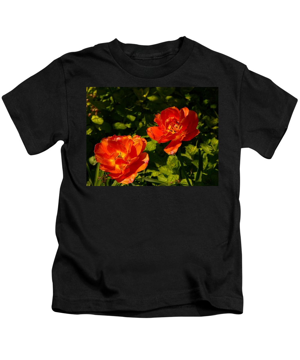 'orange Tulips' Kids T-Shirt featuring the photograph Orange Tulips In My Garden by Helmut Rottler