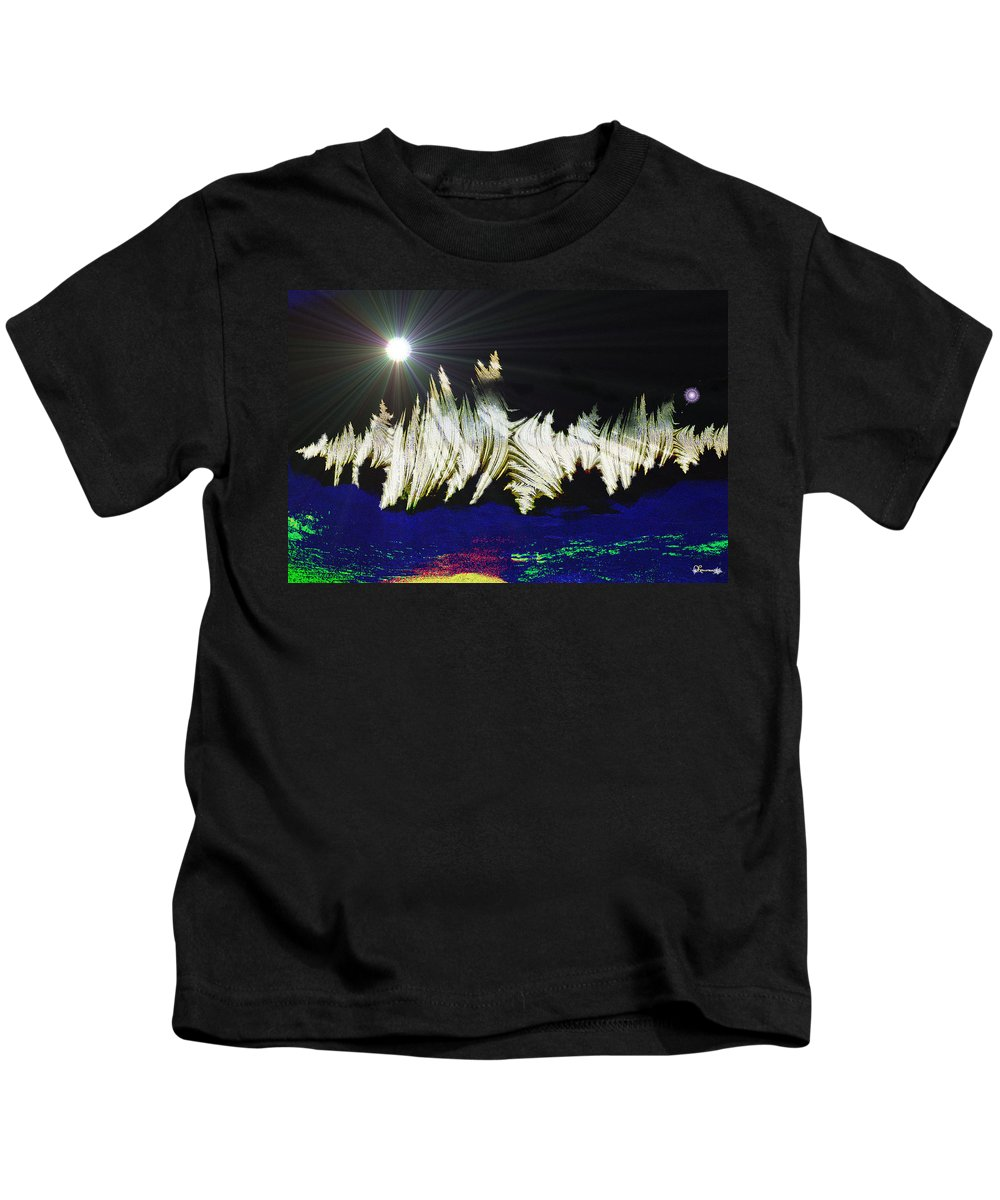 Stars Moon Planet Outter Space Alien Solar System Abstract Another Dimension Kids T-Shirt featuring the digital art Orbit Time by Andrea Lawrence