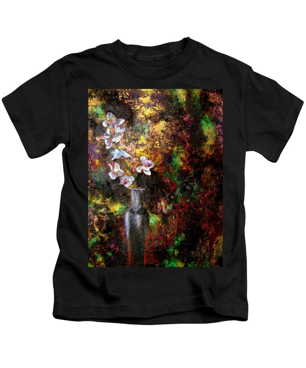 Orchid Art Beautiful Art Kids T-Shirt featuring the painting Orchid 1 by Laura Pierre-Louis