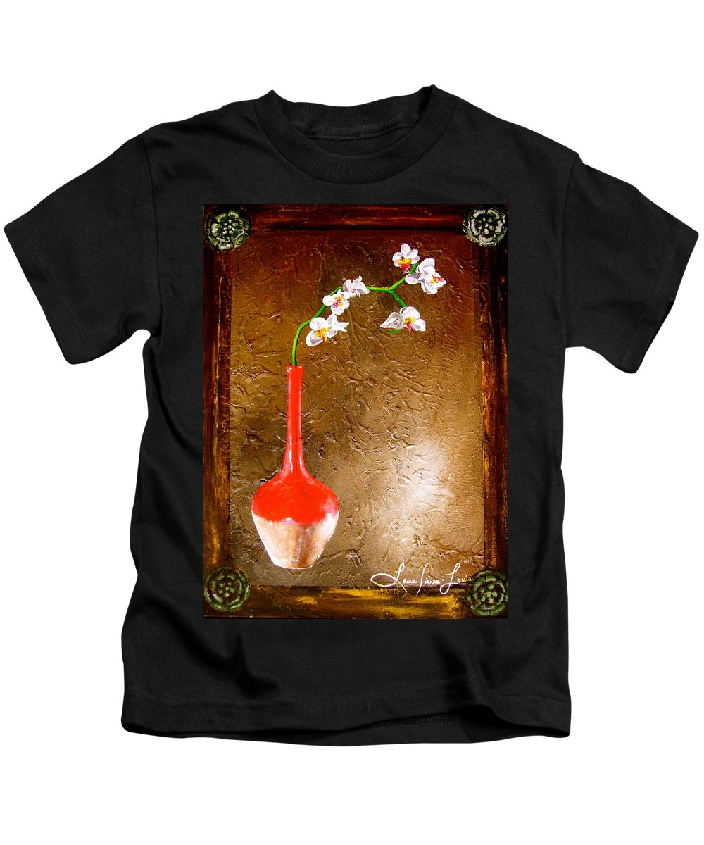 Orchid Art Beautiful Art Kids T-Shirt featuring the painting Orchid 3 by Laura Pierre-Louis