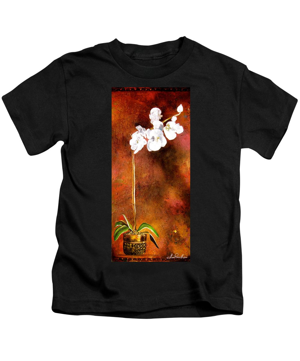 Orchid Painting Kids T-Shirt featuring the painting Orchid 4 by Laura Pierre-Louis