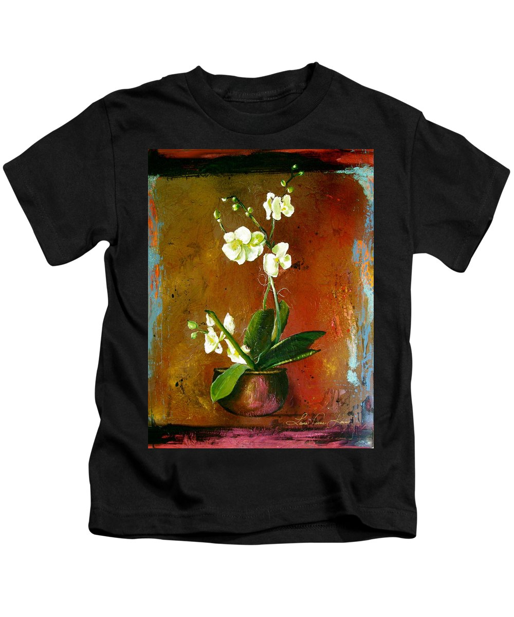 Orchid Art Beautiful Art Kids T-Shirt featuring the painting Orchid by Laura Pierre-Louis