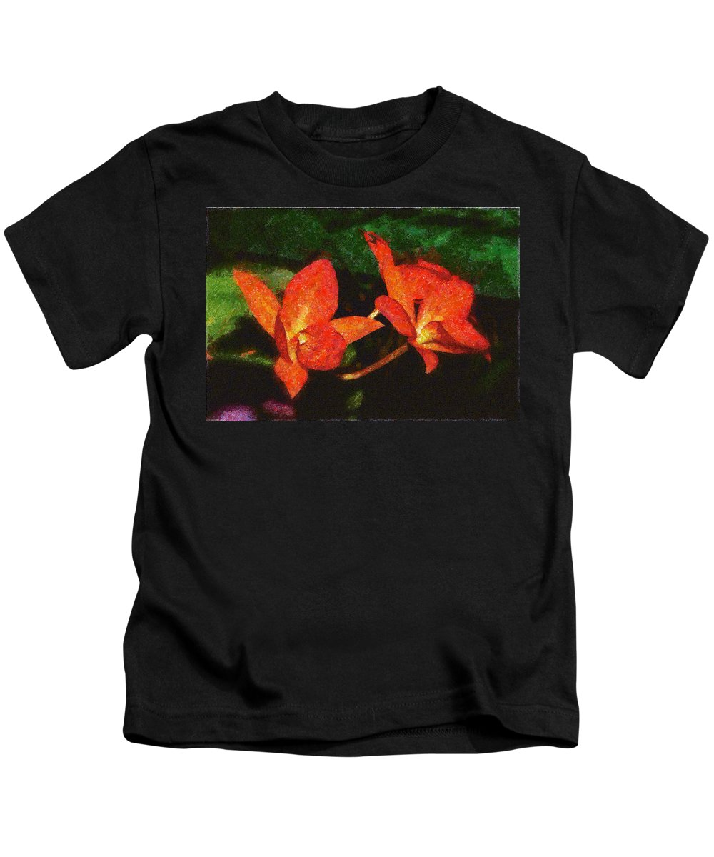 Red Kids T-Shirt featuring the photograph Orchid by Galeria Trompiz