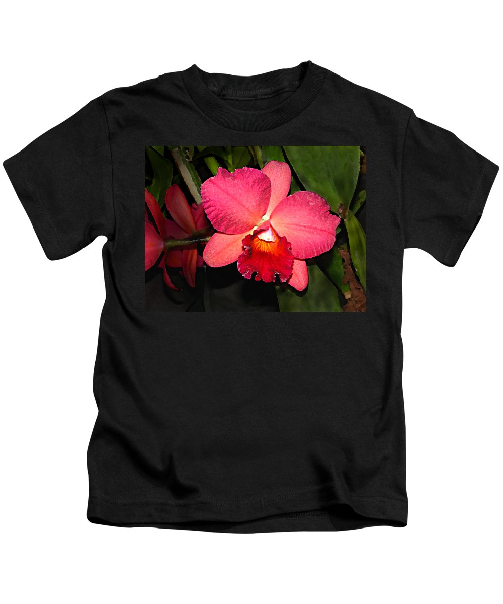 Digital Painting And Photography Kids T-Shirt featuring the photograph Orchid by Steve Karol