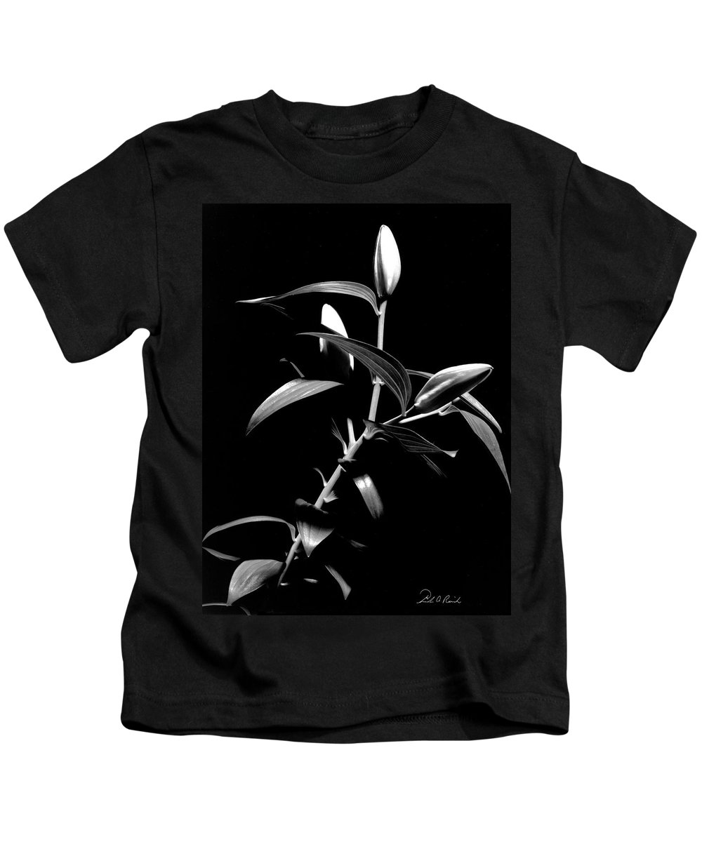 Black And White Kids T-Shirt featuring the photograph Oriental Lily Two by Frederic A Reinecke