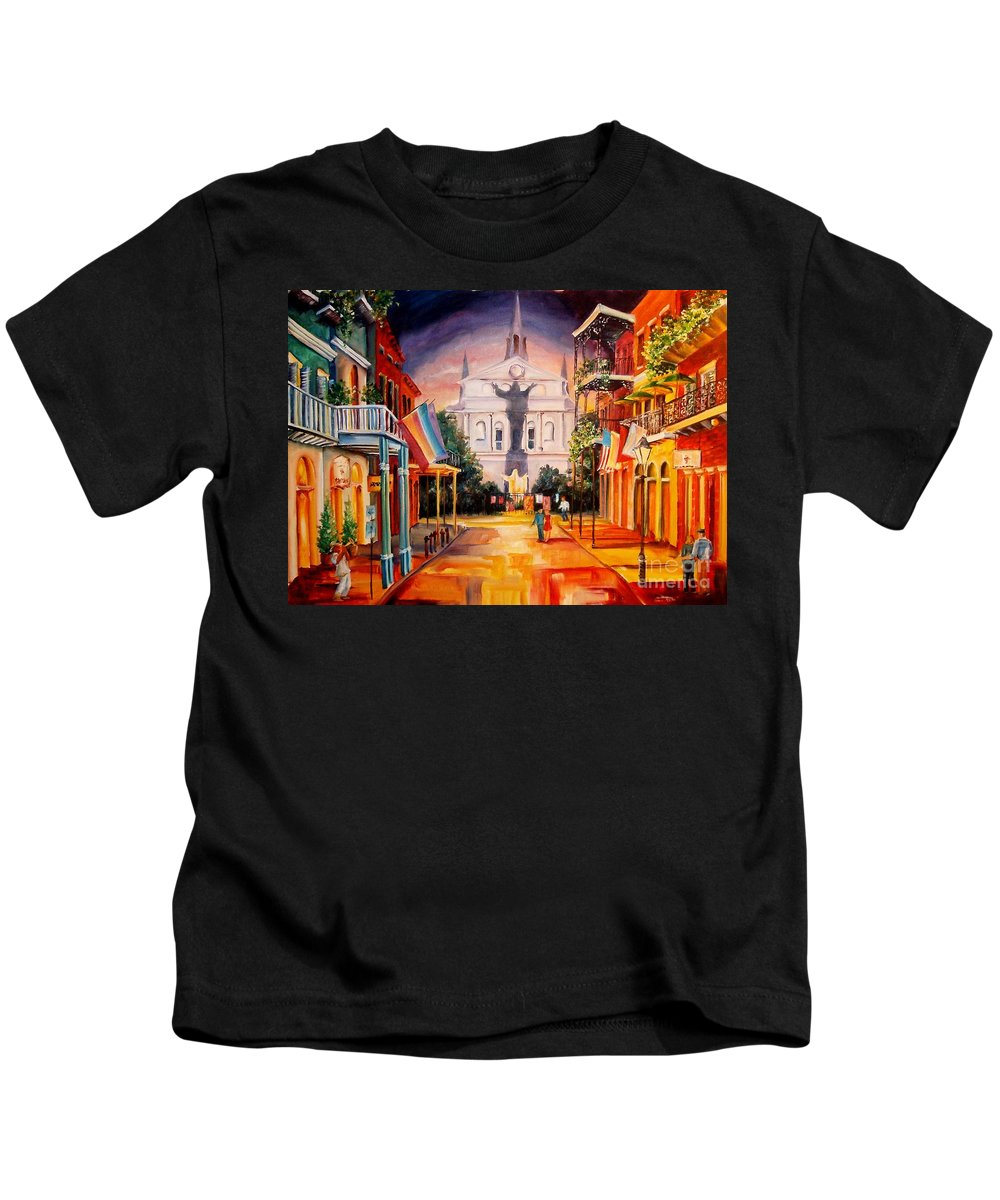 New Orleans Kids T-Shirt featuring the painting Orleans Street-new Orleans by Diane Millsap