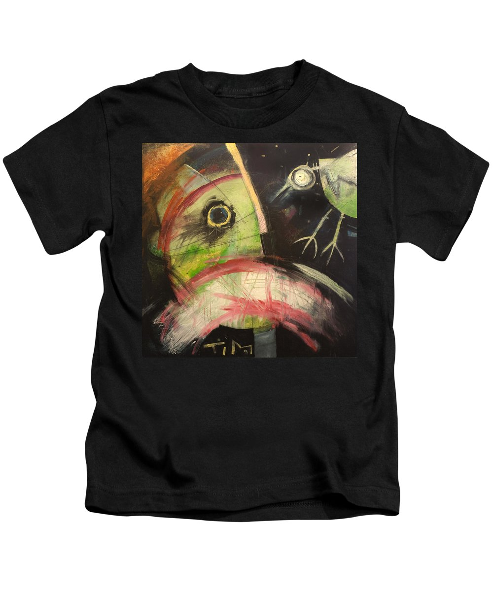 Bird Kids T-Shirt featuring the painting Ornithophobia by Tim Nyberg