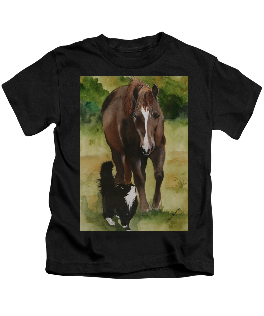 Horse Kids T-Shirt featuring the painting Oscar and Friend by Jean Blackmer