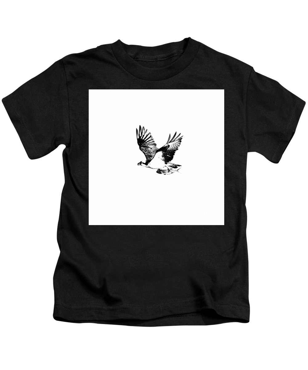 Osprey Kids T-Shirt featuring the photograph Osprey With Catch by Rachel Morrison