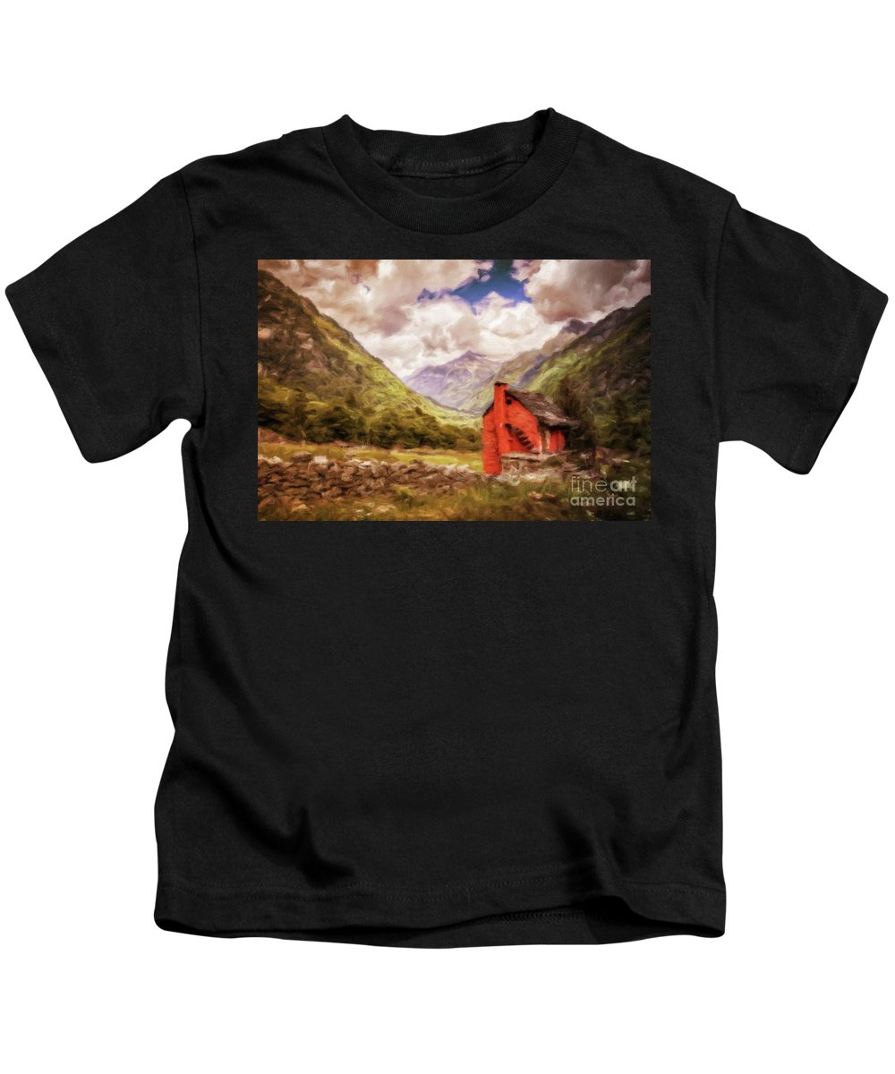 Landscape Kids T-Shirt featuring the painting Our Hideaway by Sarah Kirk