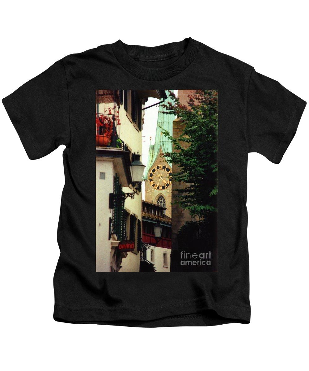 Fraumuenster Kids T-Shirt featuring the photograph Our Ladys Minster Church In Zurich Switzerland by Susanne Van Hulst