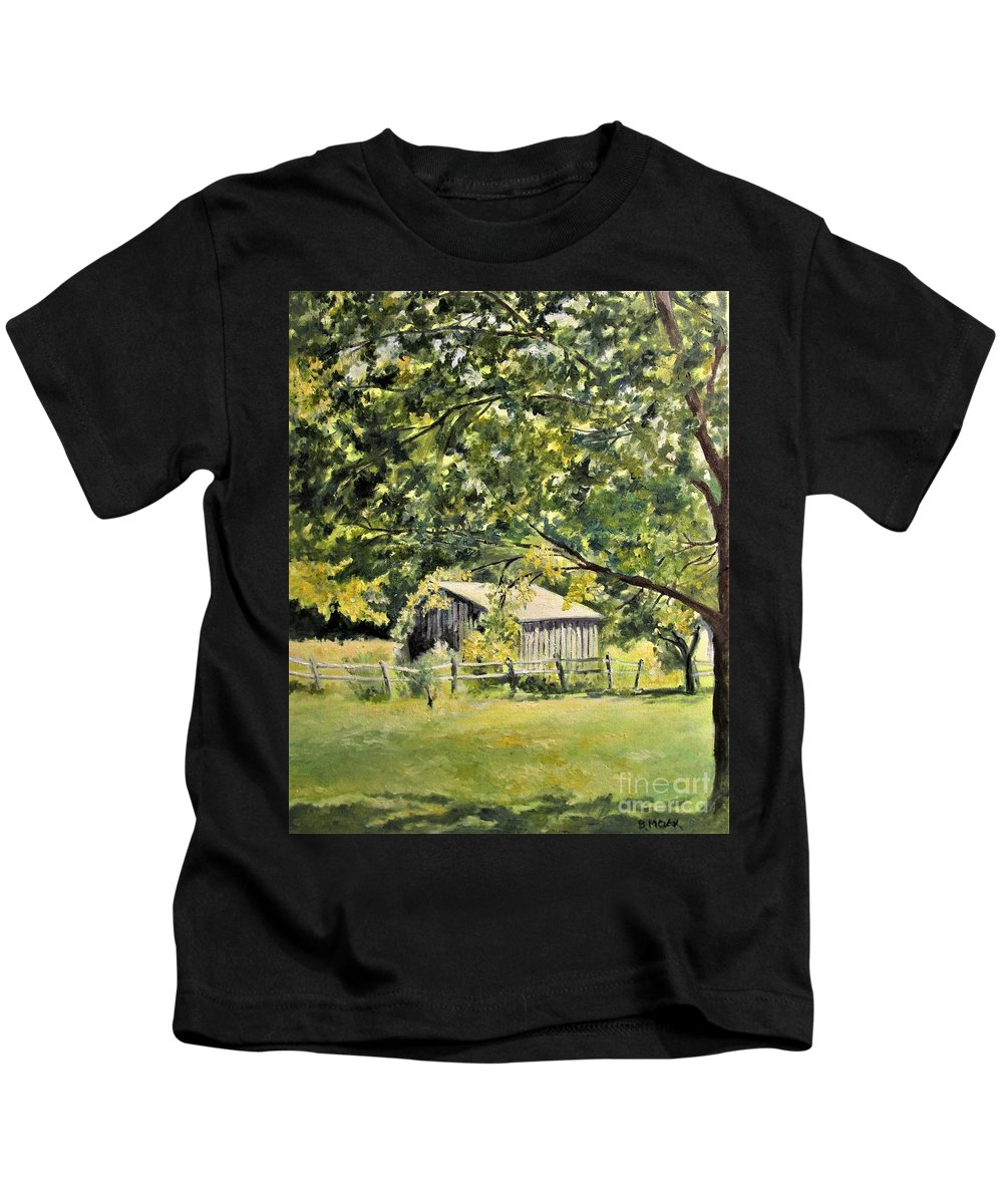 Barbara Moak Kids T-Shirt featuring the painting Outbuilding At Oriskatach New York by Barbara Moak