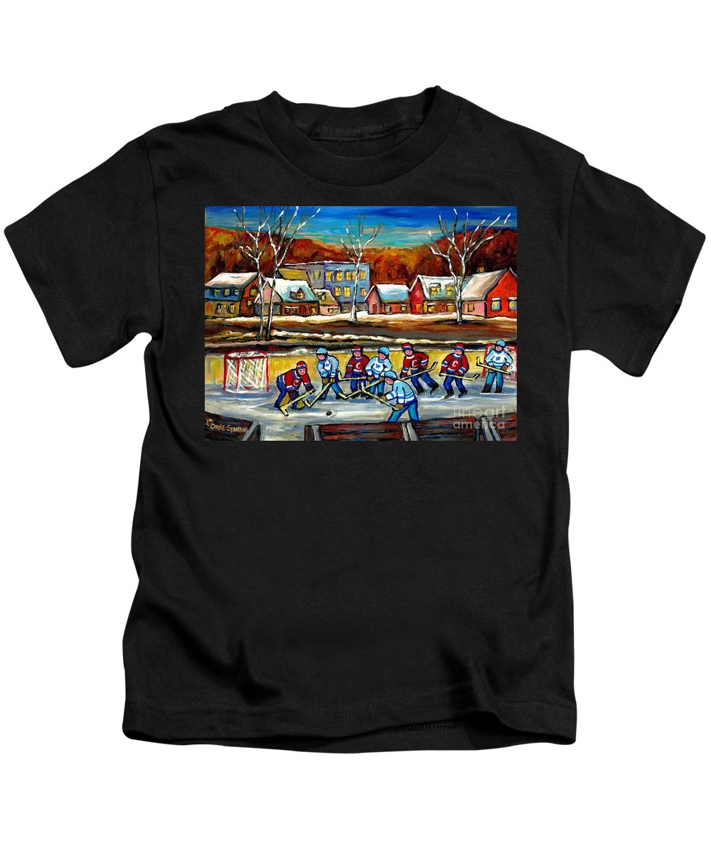 Country Hockey Rink Kids T-Shirt featuring the painting Outdoor Hockey Rink by Carole Spandau