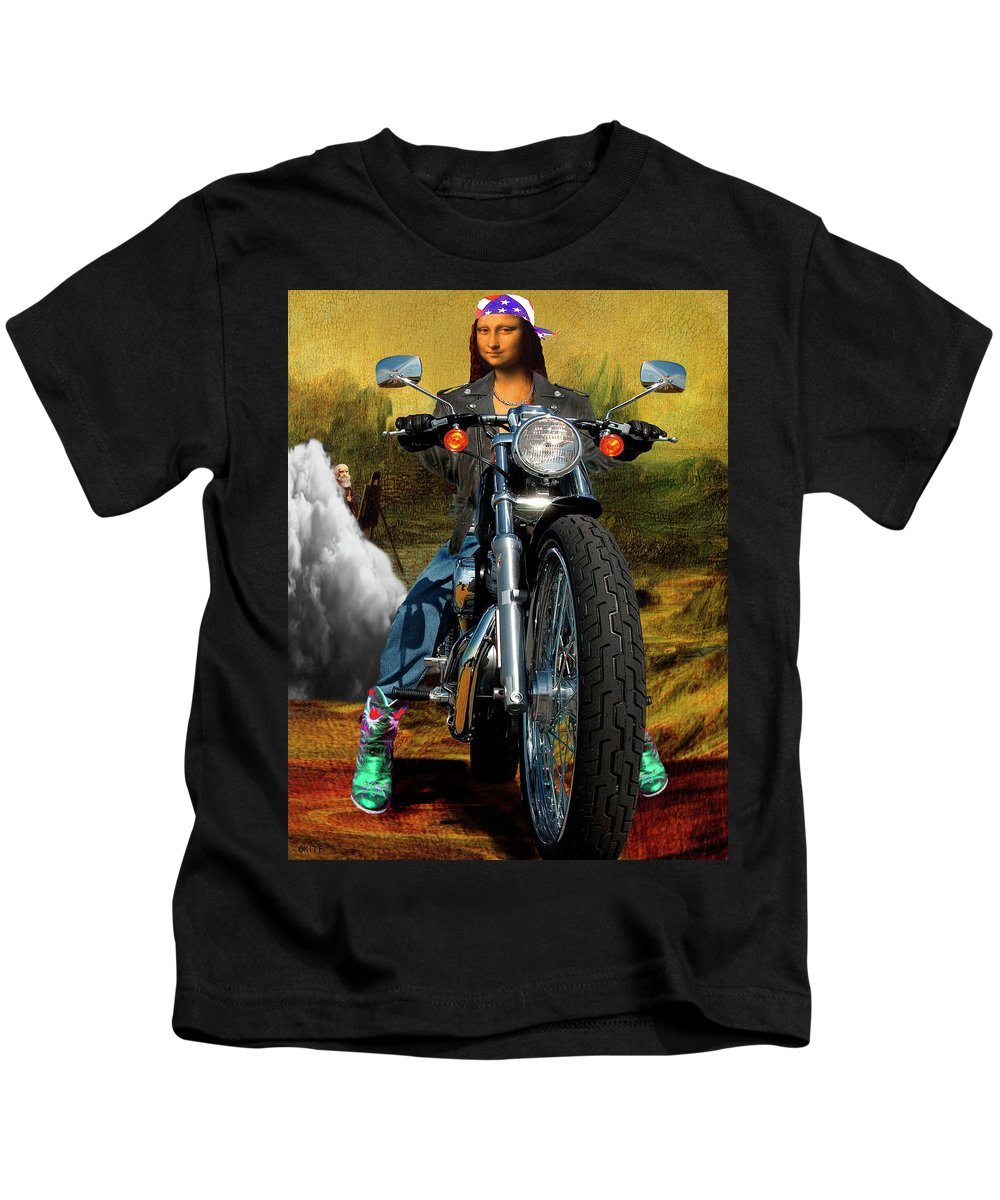 Mona Lisa Kids T-Shirt featuring the digital art Outta Here by Barry Kite