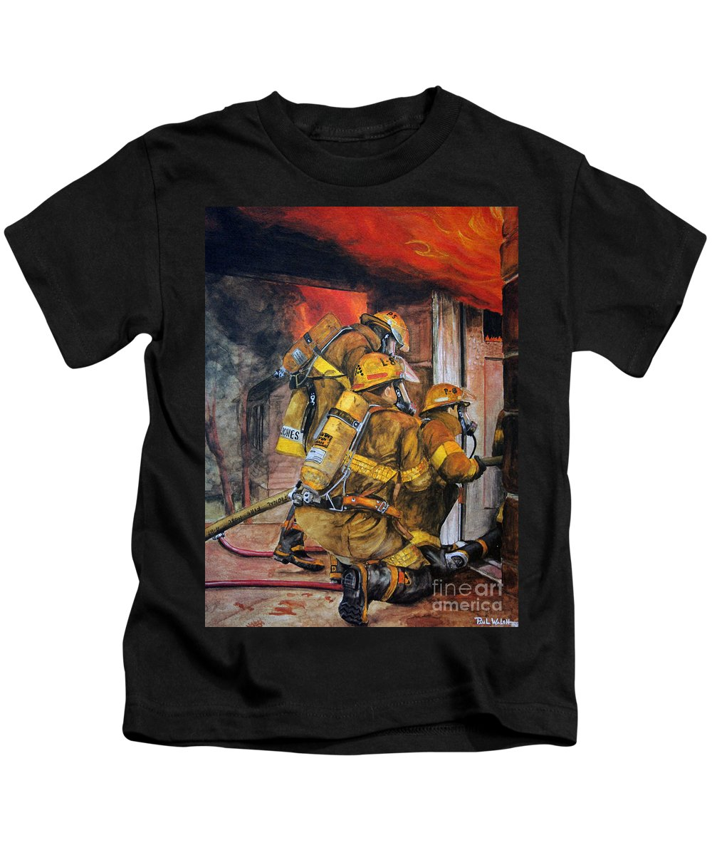 Fire Kids T-Shirt featuring the painting Over Head Heat by Paul Walsh