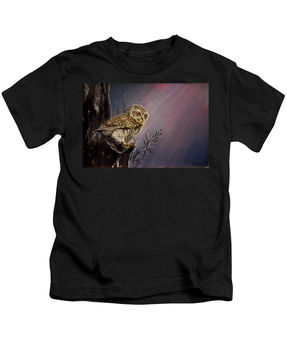 Bird Kids T-Shirt featuring the painting Owl by Judit Petho