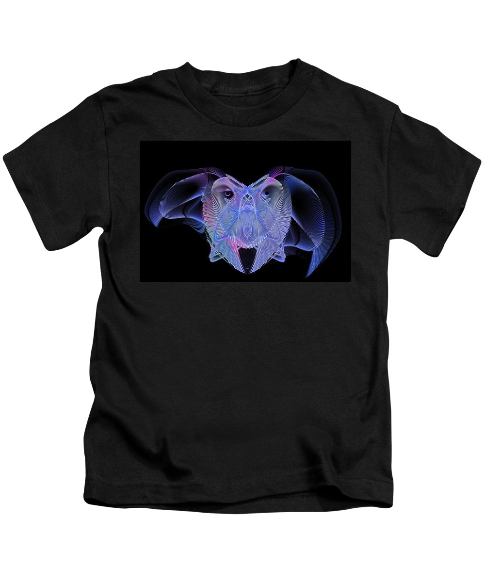 Digital Kids T-Shirt featuring the digital art Owleus Barneous Abstractacus by Andy Young