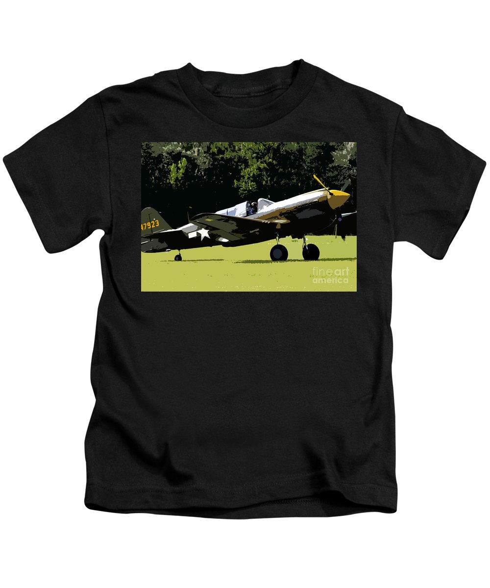 P 40 Kids T-Shirt featuring the painting P40 Take Off by David Lee Thompson